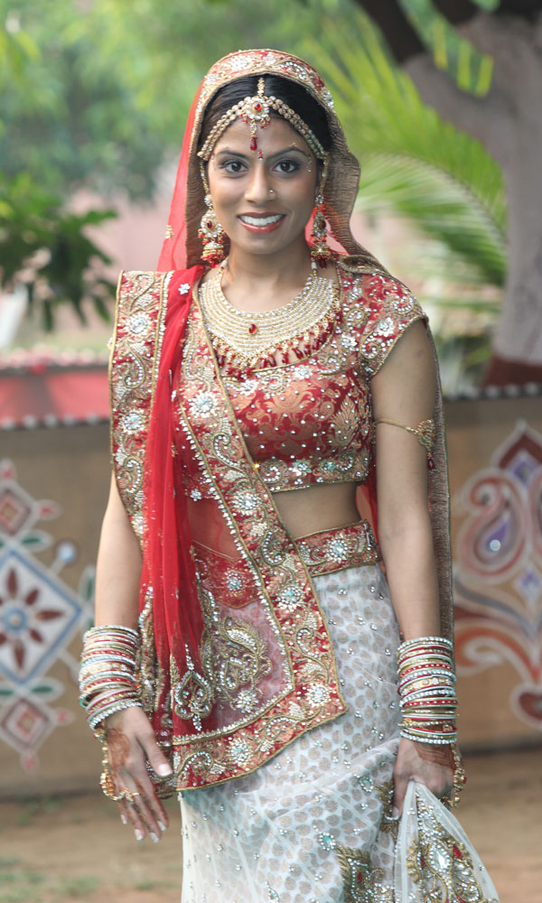 Indian wedding bride laughing