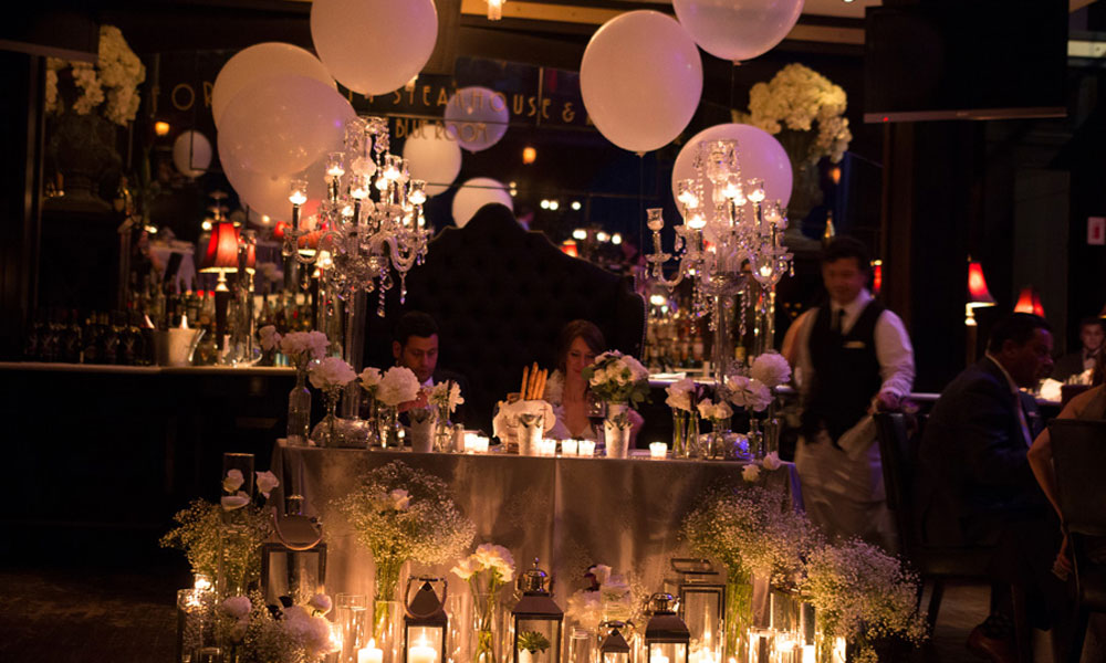 indoor wedding balloons and lights