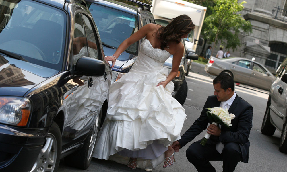 Urban wedding with car